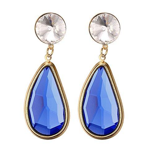 Vnox Jewelry-Ciondolo da uomo in acciaio INOX placcato in oro, colore: blu scuro-Orecchini pendenti a goccia in acrilico per acqua, per donna