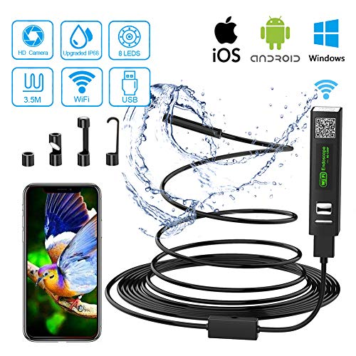 Endoscopio Android iPhone WiFi USB Camara Inspeccion 2.0 Mega Pixeles 1200P HD Boroscopio Movil IP68 Endoscopio Portatil para iOS Android Smartphone Tableta