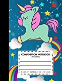 """Composition Notebook Unicorn: Zodiac Constellation Blue Sky Color Cover 7.44""""x9.69"""" 110 Pages Extra Wide Ruled Paper , Elementary School Supplies Student & Teacher"""