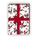 Süßes Weihnachtspapier/Geschenkpapier zu Weihnachten mit lustigen Weihnachtsmännern, weiß, für tolle Geschenk Verpackung und Überraschungen (4 Bogen, 32 x 48cm)