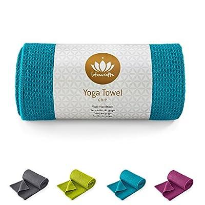 Lotuscrafts Yogahandtuch GRIP - rutschfest (Wet Grip)- hohe Bodenhaftung (Silikonbeschichtung) - 183 x 61 cm - ideal für Hot Yoga, Ashtanga - hautfreundliche und saugfähig