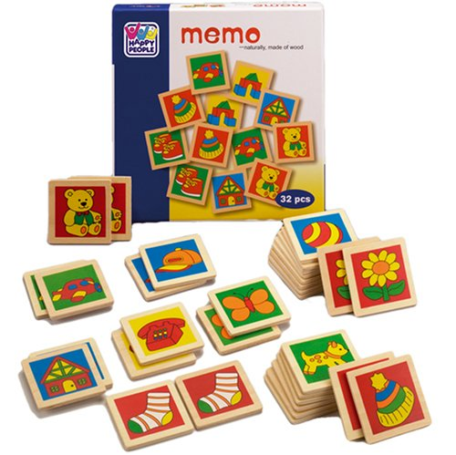 Happy People 60511 - 1st Memo aus Holz mit bunten Motiven, 32 Teile pro Karton, circa 20 cm