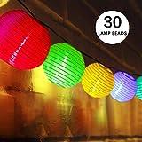 Guirlande Lumineuse, Lovebay Lampion Solaire Exterieur, 30 LED 6M/ IP65 Etanche/ 2 Modes, Décoration Intérieur et Extérieur pour Jardins, Terrasse, Patio, Café, Lampion Parti (Multicolore)