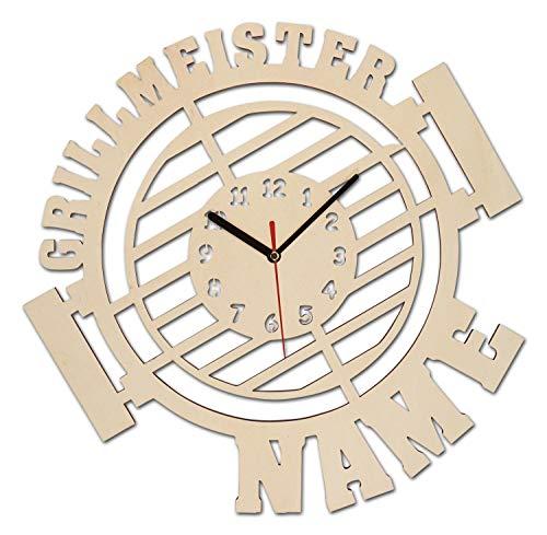 Grillmeister Grill grillen Wand Uhr Geschenk mit Zubehör für Männer personalisiert für die Gartenhütte oder Zimmer - Personalisierte Wand-uhr