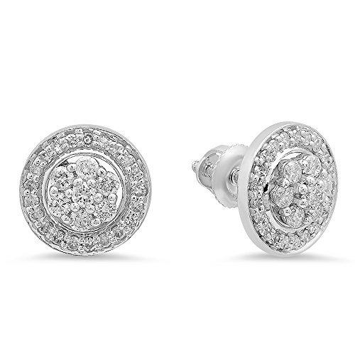 0,45Karat (ctw), 14K Weiß Gold Rund Diamant Halo Stil Ohrstecker mit abnehmbarem Jacken 1/2CT