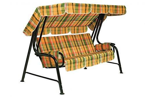 Ideapiu Balancelle de Jardin, Bascule avec Rembourrage et revêtement écossais, balancelle 4 Places, Bascule