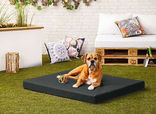 Pet Klub Black 'Rocky' PVC Water and Chew Resistant Medium Dog Bed – 90cm x 70cm