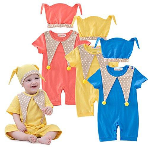 DAYU Kinder Baby Kostüme Clown Cosplay Jumpsuit Schlafanzug Unisex Winter Nachtwäsche Strampler Clown Körpergröße (3 Farben Optional) (Halloween Kostüm Monat 3 Altes)