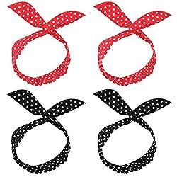 Bolonbi 4 piezas diadema de alambre, retro, moño de lunares, diadema de alambre para mujeres y niñas