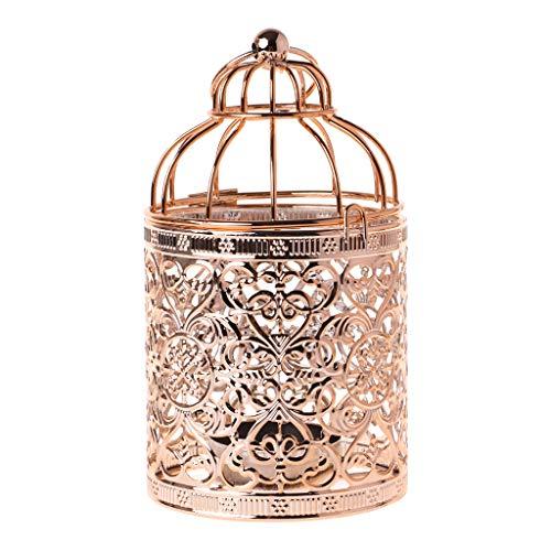 KINTRADE European Openwork Eisen Kerzenhalter Hängende Laterne Vintage Birdcage Hollow Halter - Rose Gold