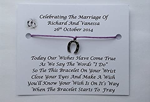 10 x Personalised Wedding Day Wish Bracelets Favours/Gifts, Table Favours For Your Guests (Purple)
