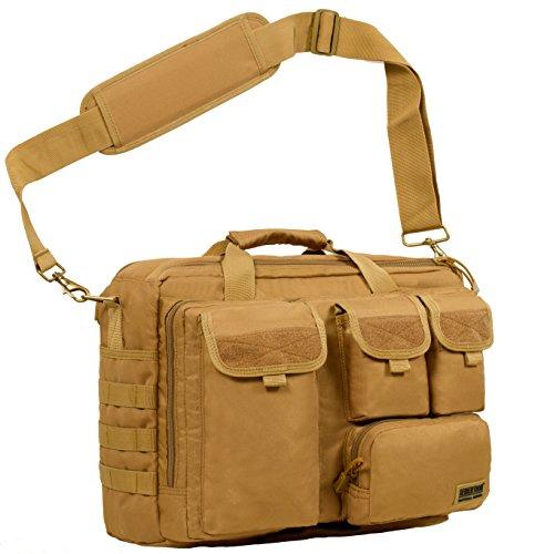 Seibertron Pro-Multifunktions Damen Herren militärische Taktische Tactical Außen Umhängetasche Schultertasche Messenger Bag Handtaschen-Aktenkoffer Notebook Pack für 17,3Zoll Laptop Computer Khaki
