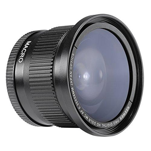Neewer® 58mm0.35 xLentedeÁnguloAnchoy Ojo de pez con Cubiertadelente para Canon Rebel T5i, T4i, T3, T3i, T2i, T1i, XTi, XT, XSi, XS, SL1, Canon EOS 1100D, 1000D, 700D, 650D, 600D, 550D, 500D, 450D, 400D, 300D, 100D DSLR Cámeras