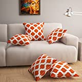 #7: Story@Home Brown And White Premium Printed 16 x 16 Inches Cushion Cover set of 5 Pcs