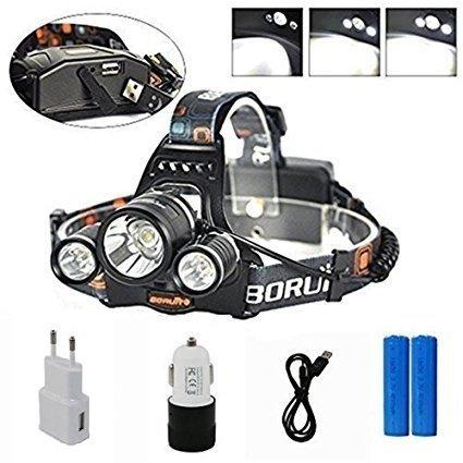 Boruit Linterna Frontal Lámpara de Cabeza Potente Luz 3XML-L2 LED 6500 Lúmenes 4 Modos para Pescar, Montar en Bici, etc, Color Negro