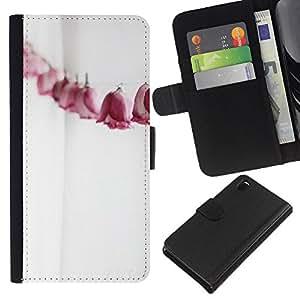 WINCASE (Non Per Z3 plus+ / Z3 compact) Immagine Pelle Raccoglitore Carta Custodia Cover Guscio Case Protezione Per Sony Xperia Z3 D6603 - Linea carta rose metafora significato profondo