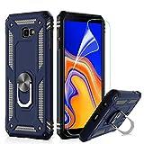 LeYi Hülle Galaxy J4 Plus Handyhülle,360 Grad Drehbar Ringhalter Cover TPU Magnetische Bumper Stoßdämpfung Schutzhülle mit HD Folie Schutzfolie für Case Samsung J4 Plus / J4+ Handy Hüllen Dunkelblau