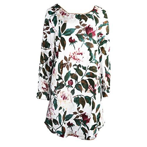 KIMODO Damen Kleid Lang Herbst Blumendruck Minikleid Party Oversize Kleider (Beige, XXXL)