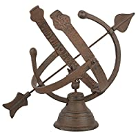 Fallen Fruits Cast Iron Armillary Sundial - Brown