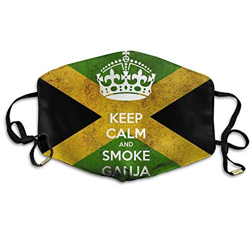 HUSDFS Mouth Masks Keep Calm Flag Of Jamaica Unisex Facemask Earloop Germ Dust Protection Mask Cycling Breathable Mask Jamaica Ski