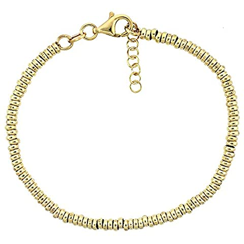 Revoni Sterling Silber Donut Loch 7in. Bead Armband w/1/2in. Verlängerung in gelb gold finish, 1/8In. (3mm) (Fashion Stretchable Armband)