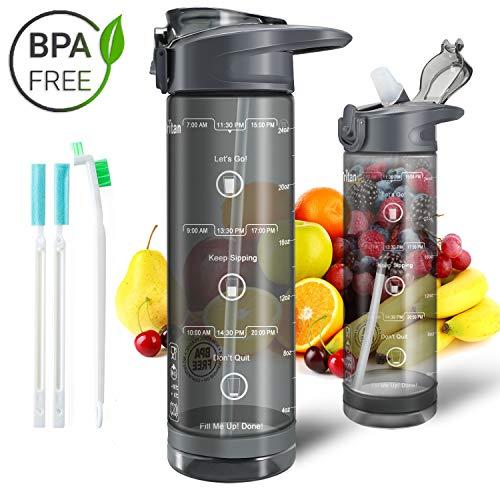 IceFrog Trinkflasche mit Strohhalm, [BPA Frei Tritan] 850ml Auslaufsicher Wasserflasche mit Skalar Sport, Sportflasche Fahrrad für Kinder Schule Camping Yoga Gym
