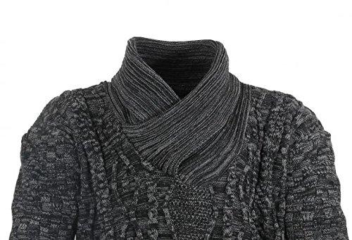XXL Herren Pullover in Übergrößen; Strick-Pulli für Männer bis 8XL; Lavecchia Langarm-Pullover mit Schalkragen - Farbe Anthrazit / Beige Grau