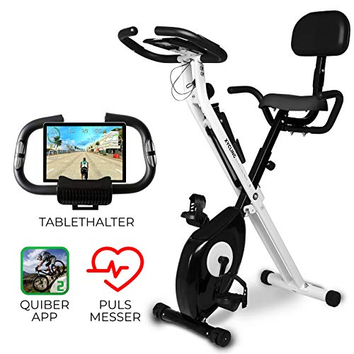 Miweba Sports Indoor Xycling X-Bike Fitnessbike - 3 Kg Schwungmasse - Pulsmessung - 8 Widerstandsstufen - App Funktion (Schwarz Weiß) -