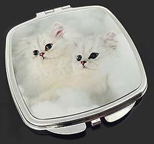 Weiß Chinchilla Kätzchen Make-up Taschenspiegel Weihnachtsgeschenk