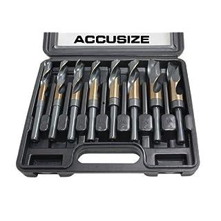 Accusize - 8 Pcs/Set M35 (HSS+5% Cobalt) 1/2'' Shank S&D Drill 9/16'' to 1'', H516-6507