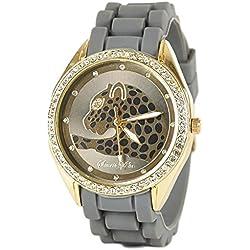 Womens Leopard Design Silicone Strap Watch