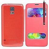 VCOMP Flip-Cover Case Hülle Schale Ansicht kompatibel für Samsung-Galaxy s5 V G900F G900IKSMATW LTE G901F/ Duos / s5 plus/ s5 neo SM-G903F/ s5 LTE-A G906S - ROT + Eingabestift