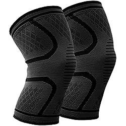 Rodillera (Pair) Beskey Anti Slip Rodilla Super Elástico Eranspirable de Compresión Adecuado Alivio del Dolor Común para Quien Sufre de Artritis y Recuperación de las Lesiones para Deportivo Unisex (Black, L)