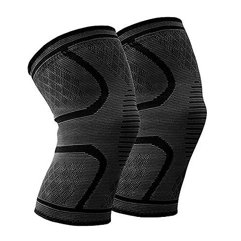 Kniebandage (Paar) Beskey Anti-Slip Kniestütze Super Elastisch Atmungsaktiv Knee Sleeves Hilfe Joint Pain Relief für Arthritis Leidende und Erholung von Verletzungen Fit für den Sport (Schwarz, M)