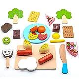 Cocina Infantil Juego - Cortar Frutas y Verduras Juguete Madera Alimentos Utensilios Juguetes Bloques Magneticos con Pizza y Vajilla para Niño Niña 3 4 5 Años