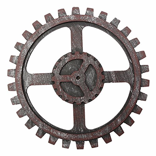 KUNSE Industrial Style Wooden Gear Wall Decor Antique Home Bar Pub Hanging Art Decor 24Cm -