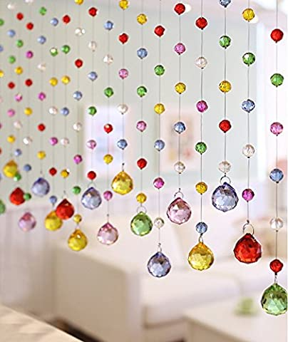 Fushing 5Pcs 30cm Multicoloured Crystal Ball Pendant Chandelier Prisms Parts Beads Strands For Home Party Wedding Christmas Decoration