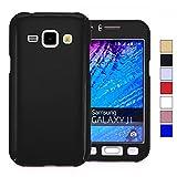 COOVY Funda para Samsung Galaxy J1 SM-J100 SM-J100F (Model 2015) 360 Grados, Carcasa Ultrafina y Ligera, con Protector de Pantalla, protección de Cuerpo Completo   Color Negro
