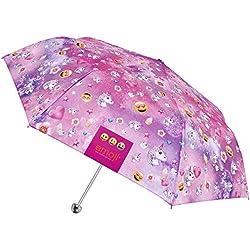 Paraguas Emoji unicornio - Paraguas Emoji caritas oficiales de WhatsApp - Para muchachas, con fantasía de unicornios y caritas - Perletti - Manual