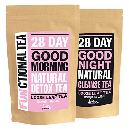Funktioneller Tee; 28 Tage Entgiftung & Reinigung Tee | 28 Tage Versorgung | Loser Tee | Love Superfood Tea | Hergestellt in Großbritannien