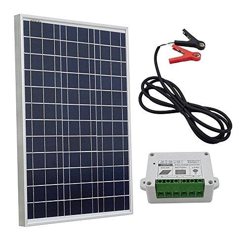 ECO-WORTHY 50W 12V PV poli pannello solare sistema kit w/ 5 A controllo carica & 2 Meters Cavo con 30 A