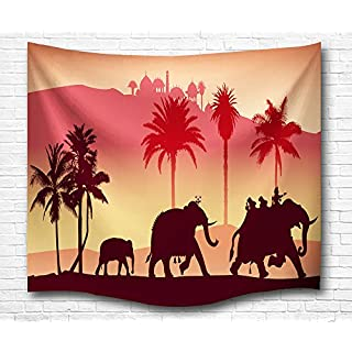 GUEQUITLEX Tapestry Wall Hanging Tapestry Mandala Elephant Hippie Tapestries for Home Decor & wall Hanging for Living Room Bedroom Dorm Décor Colored Printed Carpet (Elephant, 90x60 inch)