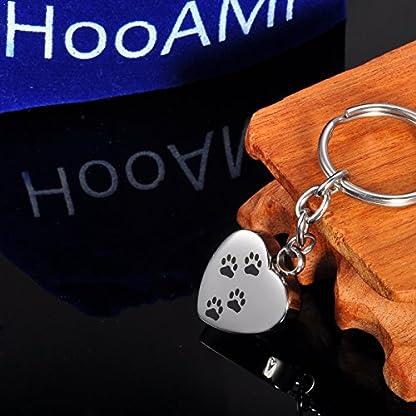 HooAMI Memorial Jewellery Stainless Steel Dog Footprint Cremation Urn Ashes Keepsake Pendant Keychain Keyring, Normal 6