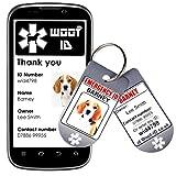 Woof ID Hundehalsband, Namensschild, personalisierbar, für Besitzer