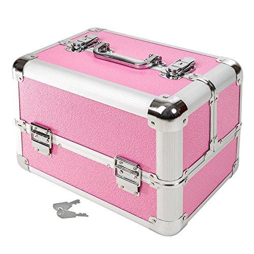 TecTake Kosmetikkoffer Schminkkoffer Beauty Case Hartschale Schmuckkoffer Friseurkoffer -Diverse Farben- (Pink)