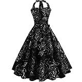 Yesmile Vintage Kleid Schwarz Rose Abschlussball Kleid Frauen Elegante 50er Jahre Rockabilly Cocktailkleid