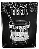 Blechschild Alkohol Retro white russian Bar Kneipe Restaurant