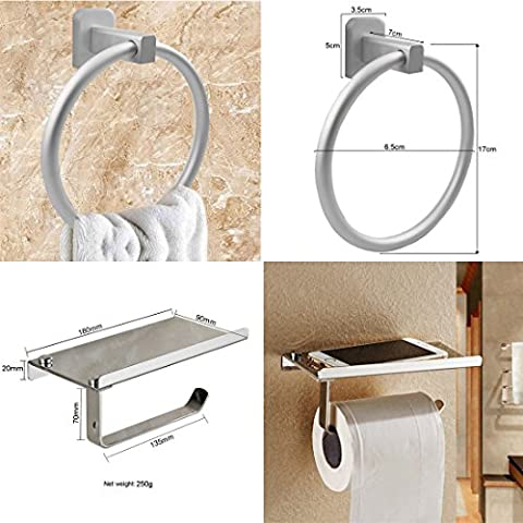 JJOnlineStore - Modern Chrome Square Toilet Tissue Paper Roll Holder With Tray Storage & Towel Ring Bathroom Toilet DIY Set Screws