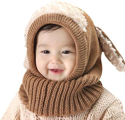 Invierno del bebé Niños Chicas Chicos Tejido Gorro Punto Caliente lana Cofia Capucha Bufanda Caps Sombreros (Caqui)