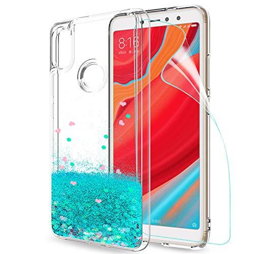 LeYi Hülle Xiaomi Redmi S2 Glitzer Handyhülle mit HD Folie Schutzfolie,Cover TPU Bumper Silikon Flüssigkeit Treibsand Clear Schutzhülle für Case Xiaomi Redmi S2 Handy Hüllen ZX Turquoise